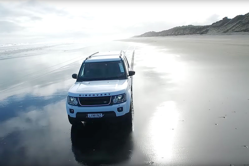 Drive on Muriwai's Black Sand Beach Auckland