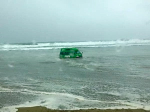 campervan stuck on beach