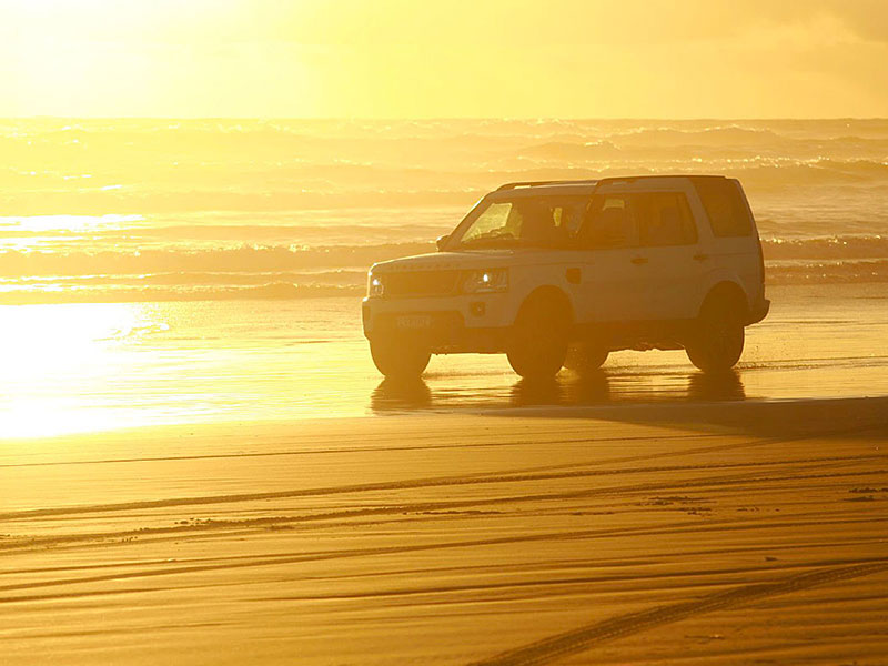 4WD Drive on Muriwai Black Sand Beach